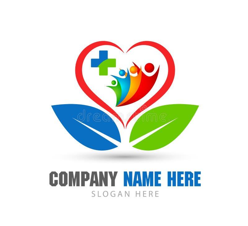 Les gens ensemble dedans entendre la forme, feuille verte, logo professionnel de haute qualit? ? la mode de logo de soins de sant illustration stock