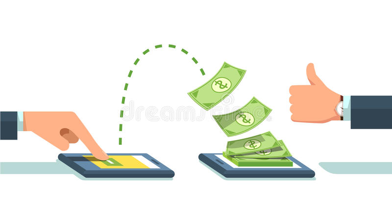 Les gens envoyant et recevant l'argent illustration stock