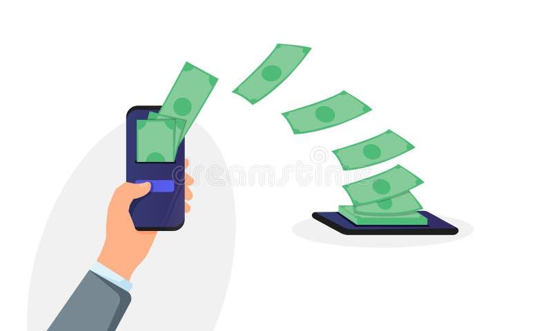 Les gens envoyant et recevant la radio d'argent avec des téléphones portables Main tenant le téléphone portable et faisant le tra illustration stock