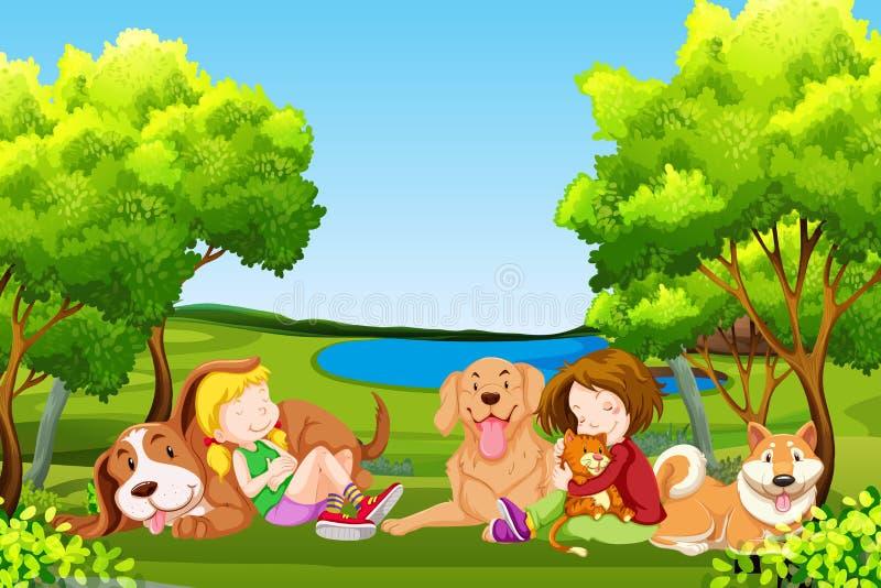 Les gens et l'animal familier au parc illustration libre de droits