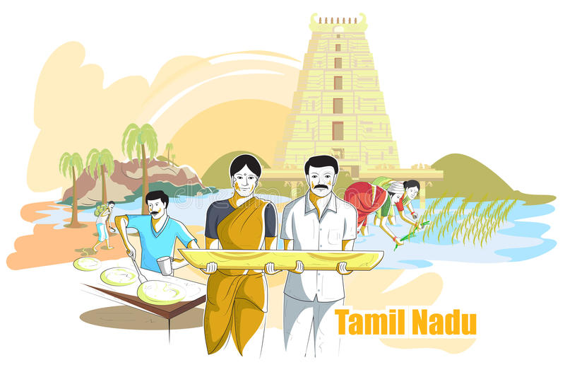 Les gens et la culture de Tamil Nadu, Inde illustration de vecteur