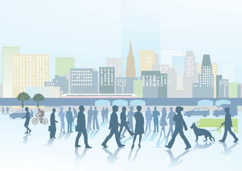 Les gens et la ville illustration de vecteur