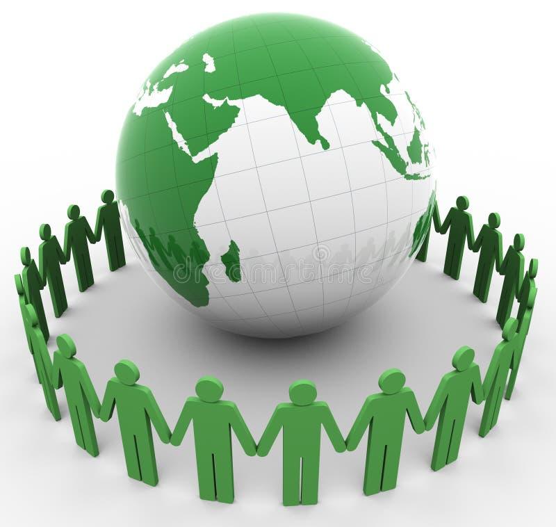 Les gens et le globe illustration libre de droits