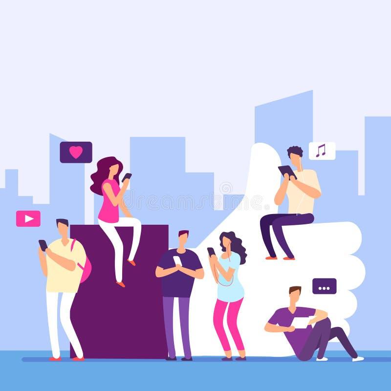 Les gens et les médias sociaux, vente d'Internet, concept de vecteur de goûts illustration libre de droits