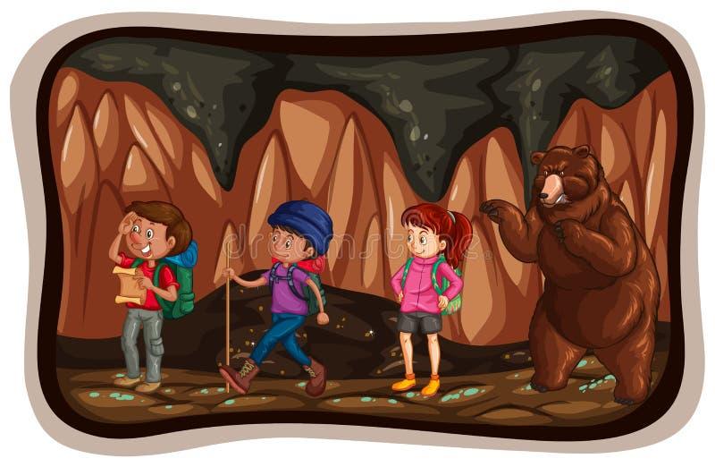 Les gens explorant la caverne illustration libre de droits