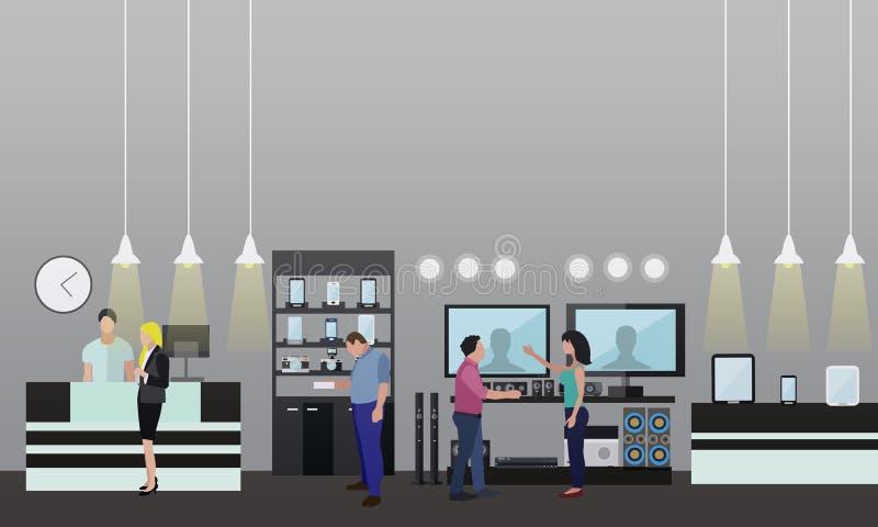Les gens faisant des emplettes dans un mail Intérieur de magasin d'électronique grand public Illustration de vecteur Éléments et  illustration stock