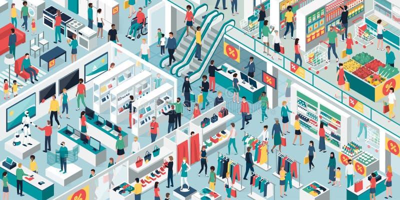 Les gens faisant des emplettes ensemble au centre commercial illustration stock