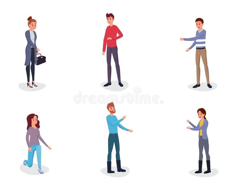 Les gens faisant des gestes l'ensemble plat de caractères de vecteur Homme gai, femme exprimant des émotions avec les mains augme illustration libre de droits