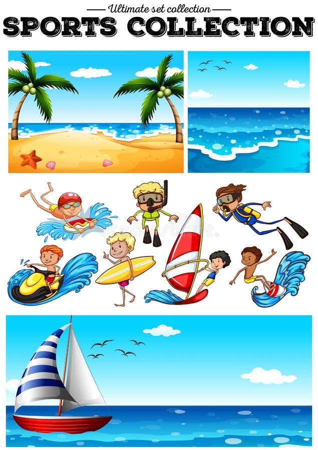 Les gens faisant des sports aquatiques et des scences de plage illustration stock