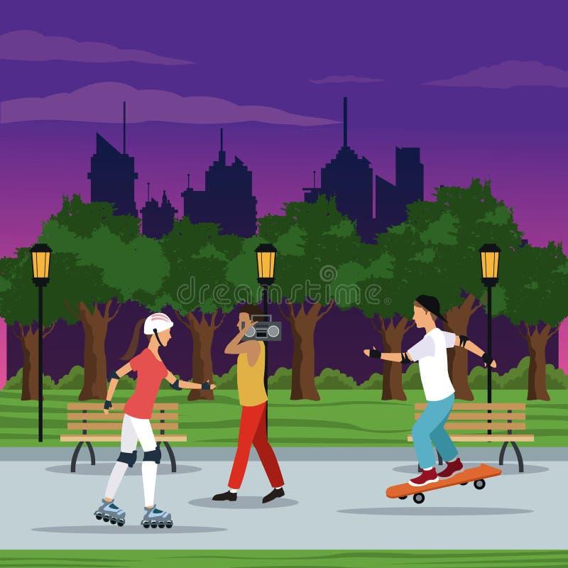 Les gens faisant la ville d'activités garent la nuit d'arbres de postlight de lampe de brench illustration libre de droits