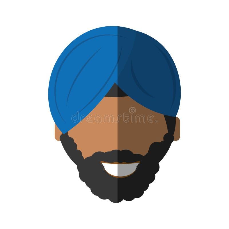 les gens font face à l'homme israélien avec l'icône de moustache illustration stock