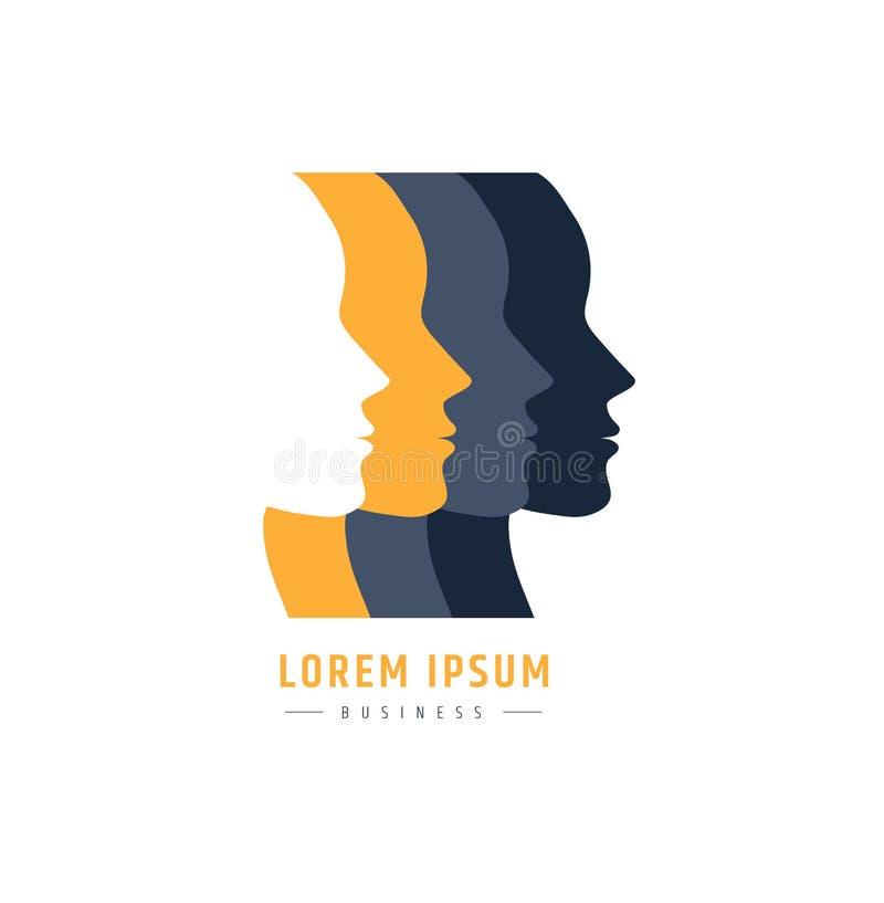Les gens font face au logo relations de logo et égalité socioculturelles des personnes conception de sociologie illustration stock