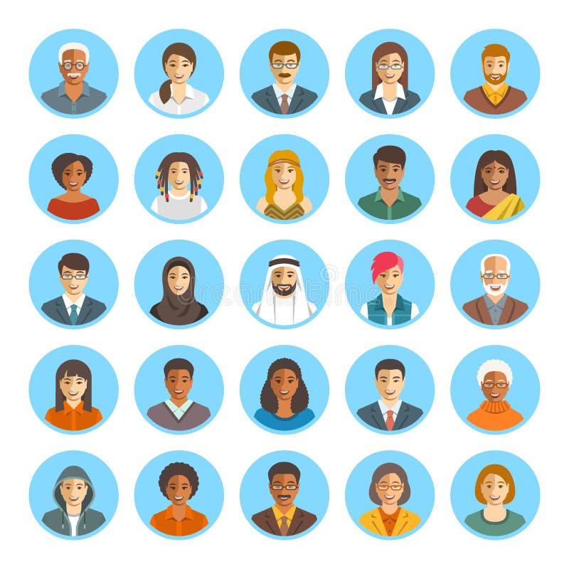 Les gens font face aux icônes plates de vecteur d'avatars illustration libre de droits