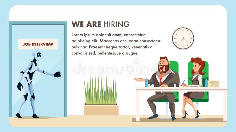 Les gens font l'entrevue d'emploi pour l'employé masculin de robot illustration stock
