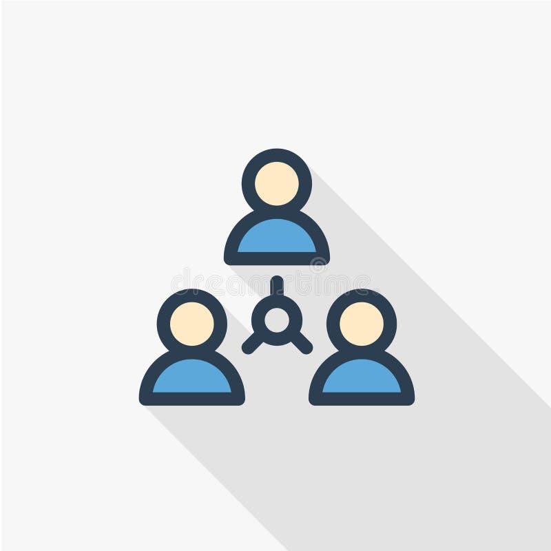 Les gens groupent, la communauté, ligne mince icône plate de réseau de couleur Symbole linéaire de vecteur Longue conception colo illustration stock