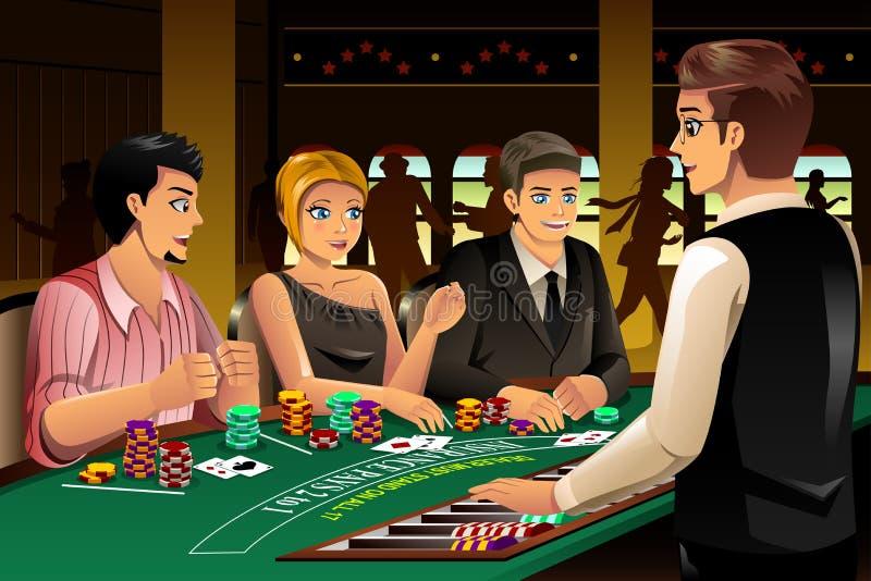 Les gens jouant dans un casino illustration stock