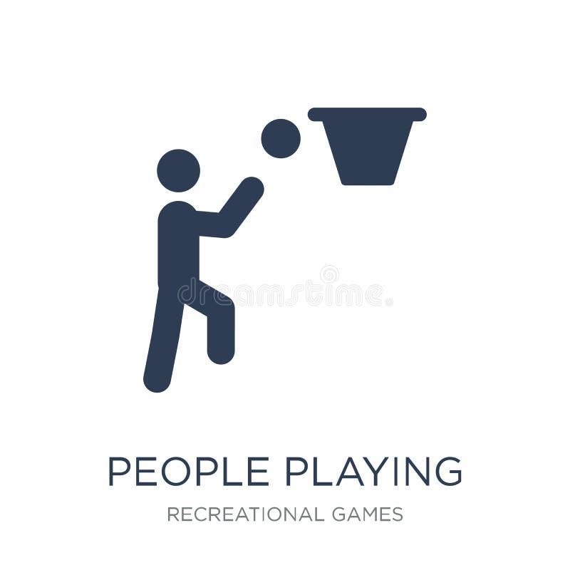 Les gens jouant l'icône d'icône de basket-ball Personnes plates à la mode p de vecteur illustration de vecteur
