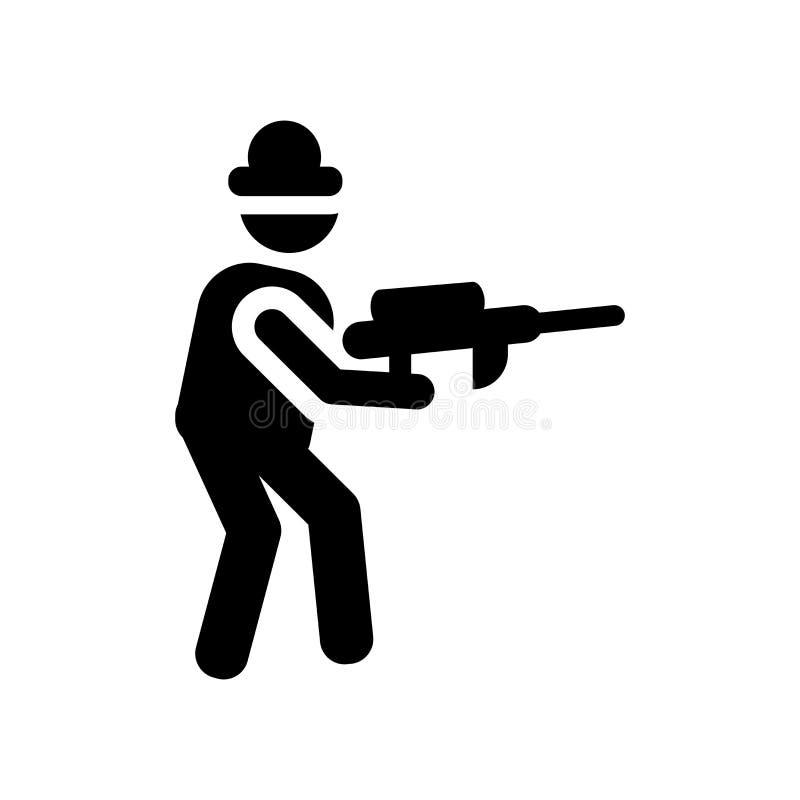 Les gens jouant l'icône d'icône de Paintball  illustration stock