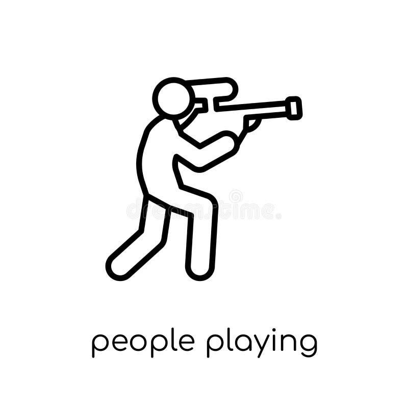 Les gens jouant l'icône d'icône de Paintball Appartement moderne à la mode VE linéaire illustration stock
