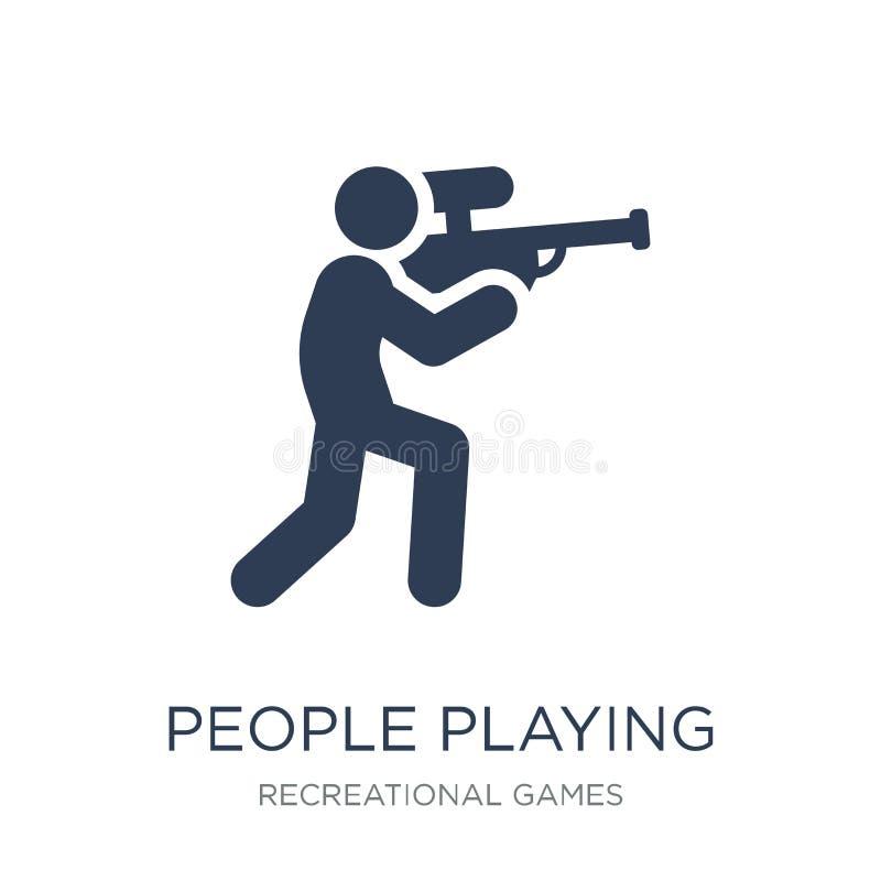 Les gens jouant l'icône d'icône de Paintball Personnes plates à la mode pl de vecteur illustration libre de droits
