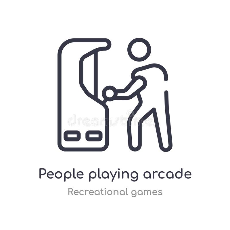 les gens jouant l'icône d'ensemble de jeu électronique ligne d'isolement illustration de vecteur de la collection r?cr?ationnelle illustration de vecteur