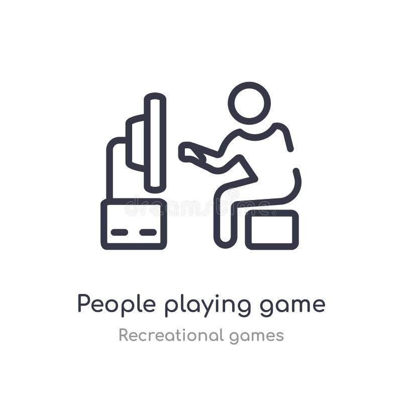 les gens jouant l'icône d'ensemble de jeu ligne d'isolement illustration de vecteur de la collection r?cr?ationnelle de jeux r illustration de vecteur