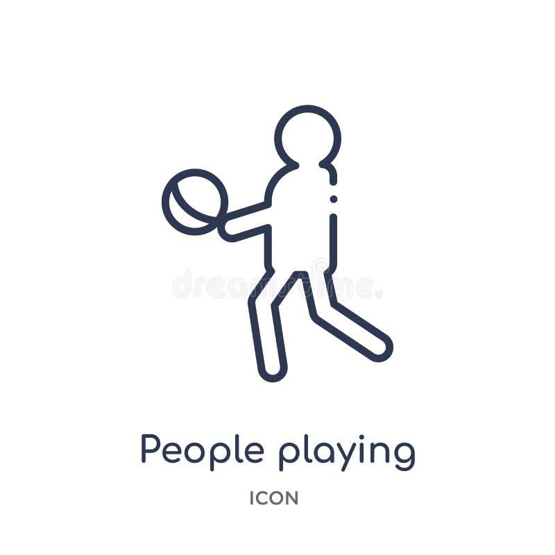 les gens jouant l'icône de boule de la collection récréationnelle d'ensemble de jeux Ligne mince les gens jouant l'icône de boule illustration libre de droits