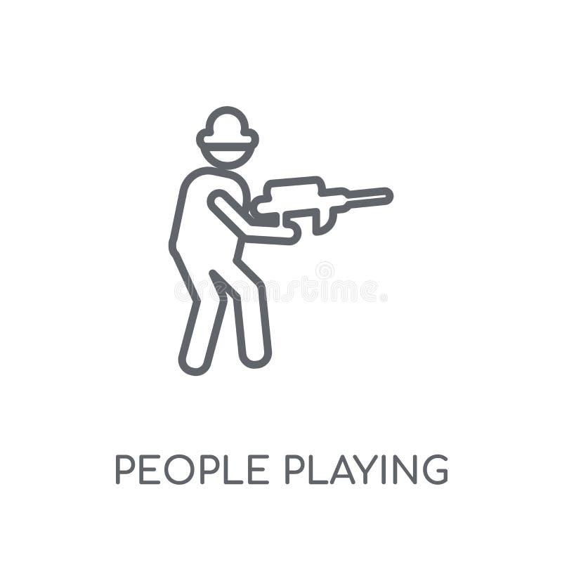 Les gens jouant l'icône linéaire d'icône de Paintball Personnes modernes d'ensemble illustration libre de droits