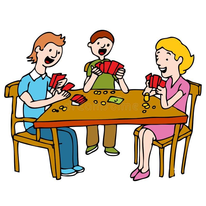 Les gens jouant le jeu de carte de tisonnier illustration de vecteur