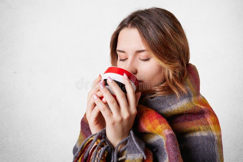 Les gens, l'atmopshere confortable, la saison et le concept de chauffage La belle femme dans le plaid chaud boit du thé chaud, se photos stock