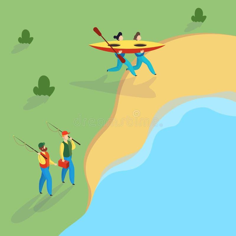 Les gens ? la rivi?re Couples de caractère actif avec le kayak illustration libre de droits