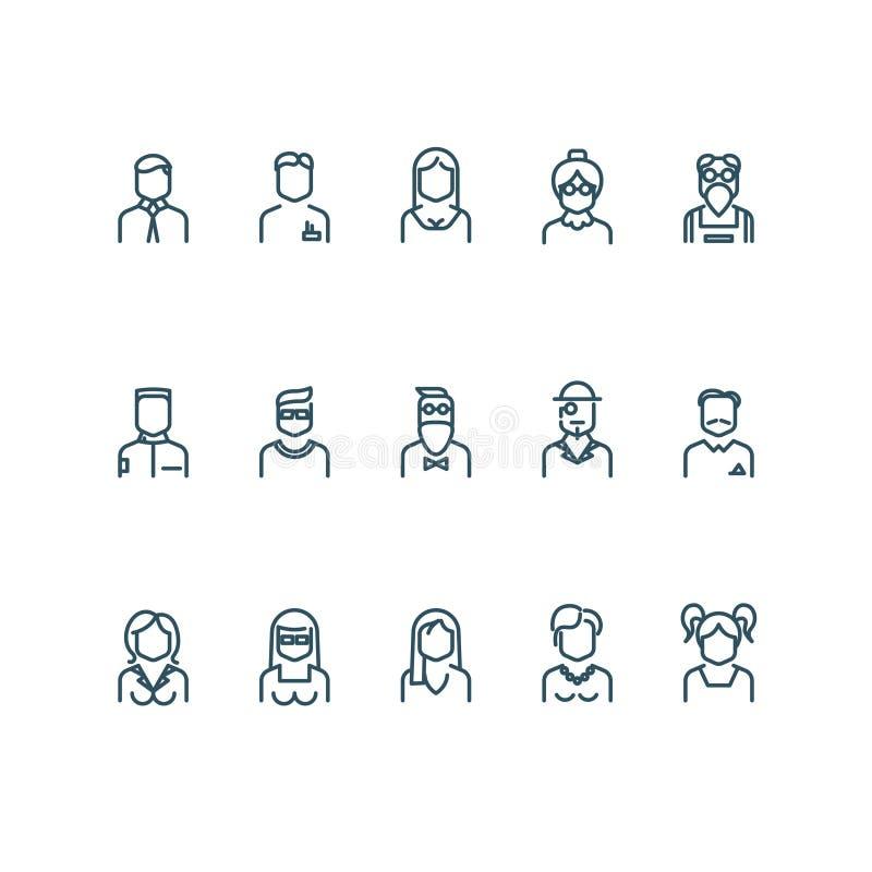 Les gens, ligne icônes de vecteur de profil d'utilisateur illustration libre de droits