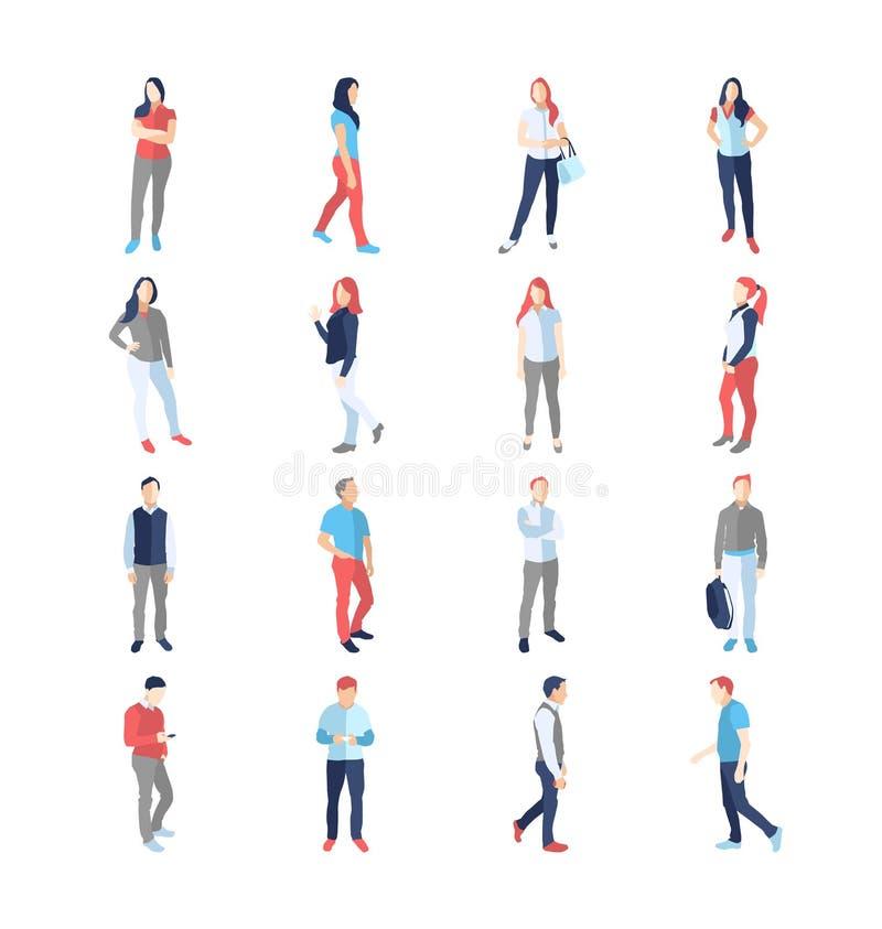 Les gens, mâle, femelle, dans différentes poses communes occasionnelles illustration libre de droits