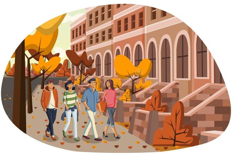 Les gens marchant dans la ville illustration de vecteur