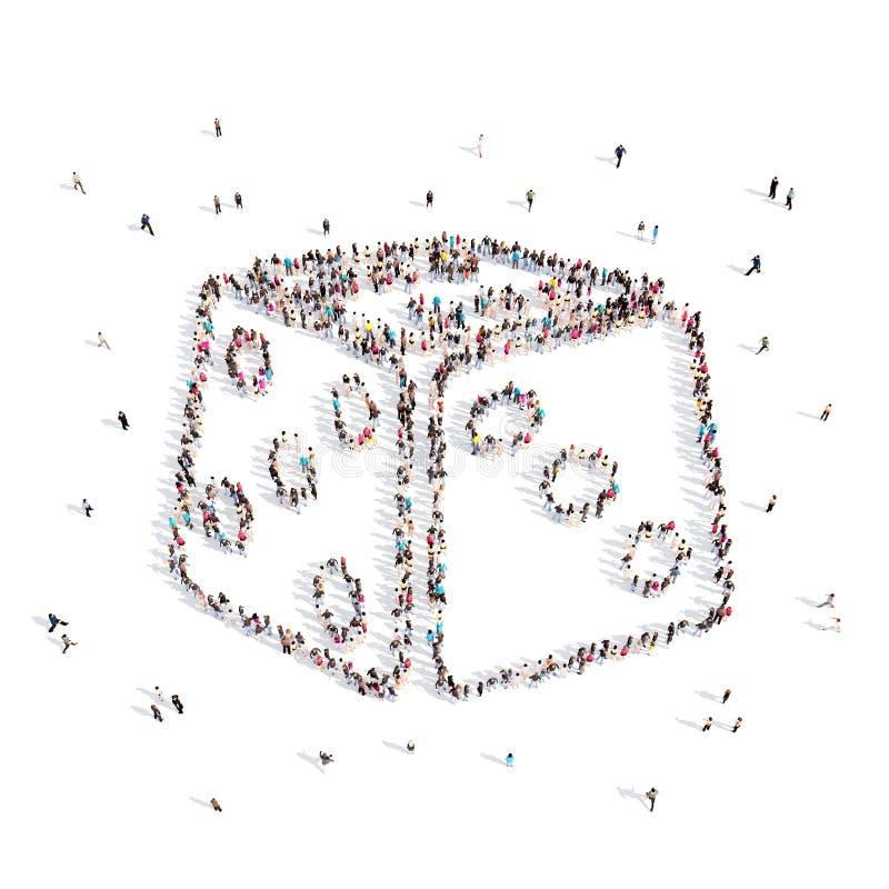 Les gens marchant dans une matrice illustration 3D rendu 3d illustration stock