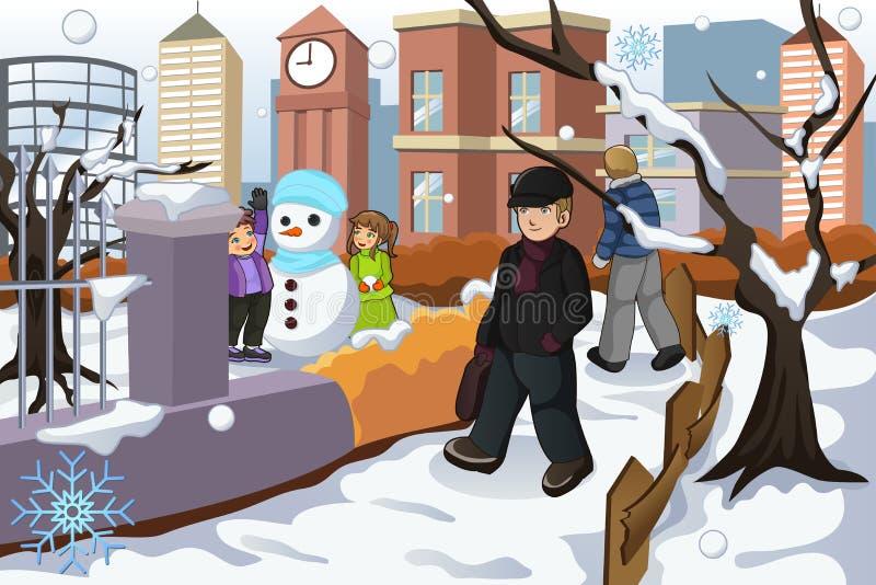Les gens marchant en parc pendant l'hiver illustration libre de droits