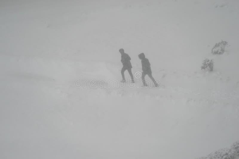 Les gens marchant par la tempête de neige images stock