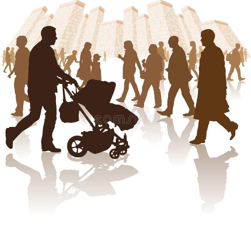 Les gens marchant par une ville illustration de vecteur