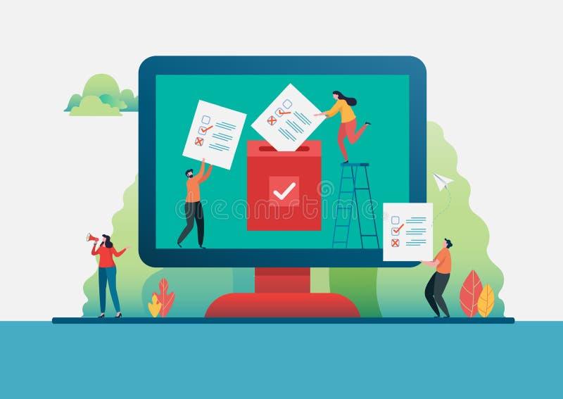 Les gens mettant le bulletin de vote dans l'urne  En ligne votant Système d'Internet d'élection Caractère moderne d'illustration  illustration libre de droits