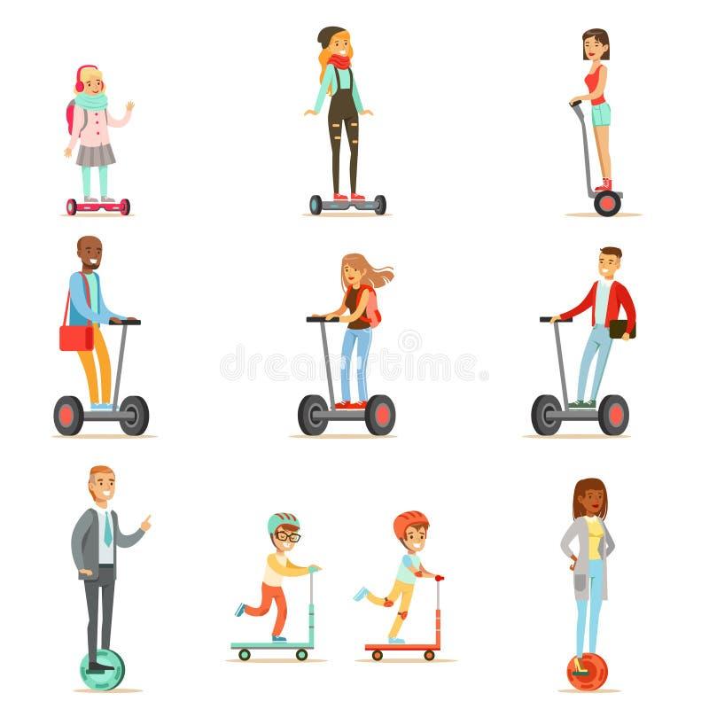 Les gens montant les scooters électriques personnels à piles de Auto-équilibrage électriques avec un ou deux roues, collection de illustration stock