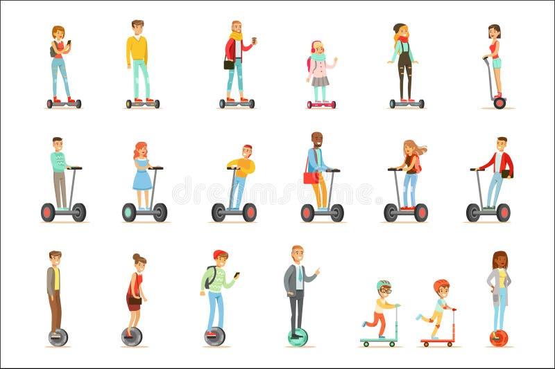 Les gens montant les scooters électriques personnels de Auto-équilibrage électriques Whith de Batery Poweres un ou deux roues, en illustration libre de droits