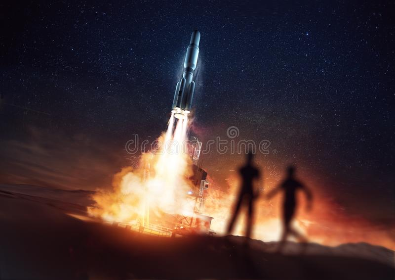 Les gens observant Rocket Launch illustration libre de droits