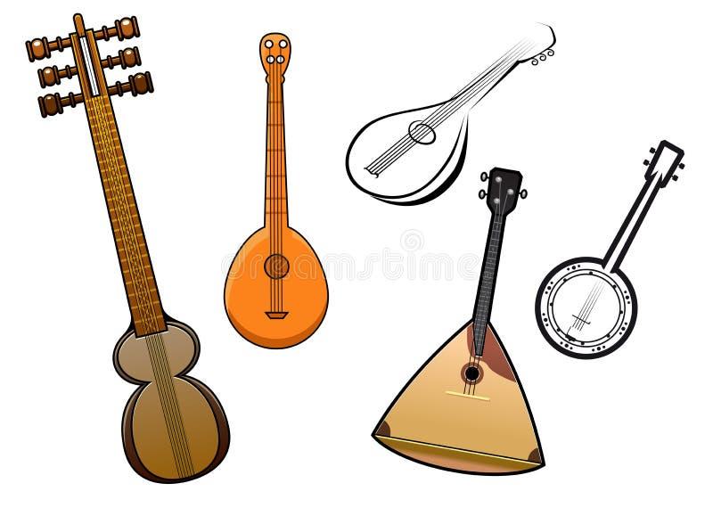Les gens ont ficelé des éléments de conception d'instruments de musique illustration stock
