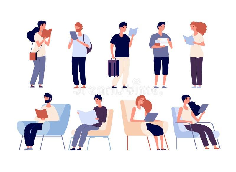 Les gens ont lu des livres Groupe de femmes et de position de livre de lecture d'homme et de se reposer sur la chaise Étudiants s illustration libre de droits