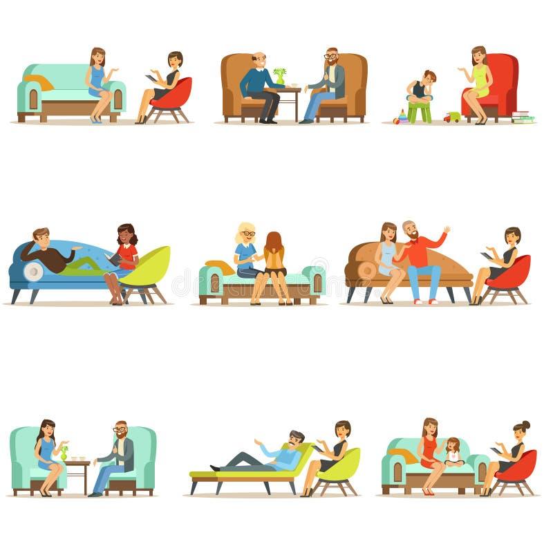Les gens parlant au psychologue Patients à une réception aux psychothérapies Consultation de psychothérapie, colorée illustration libre de droits