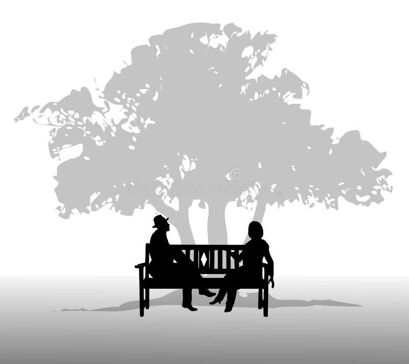 Les gens parlant sur un banc illustration libre de droits