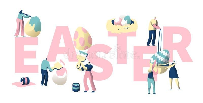 Les gens peignent l'affiche colorée de typographie d'oeuf de pâques Carte de voeux élégante de calibre de fête d'invitation de re illustration stock