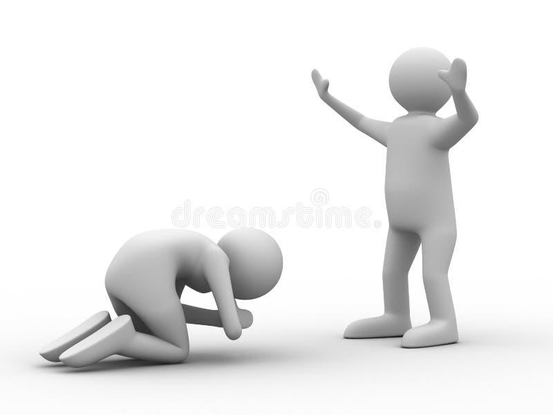 Les gens priant dans les genoux illustration stock