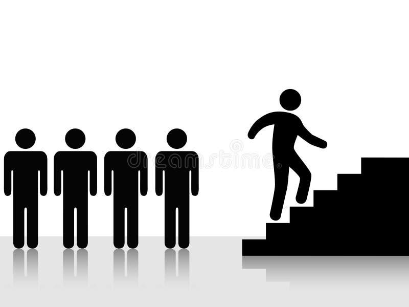 Les gens réalisent montent vers le haut des escaliers illustration de vecteur