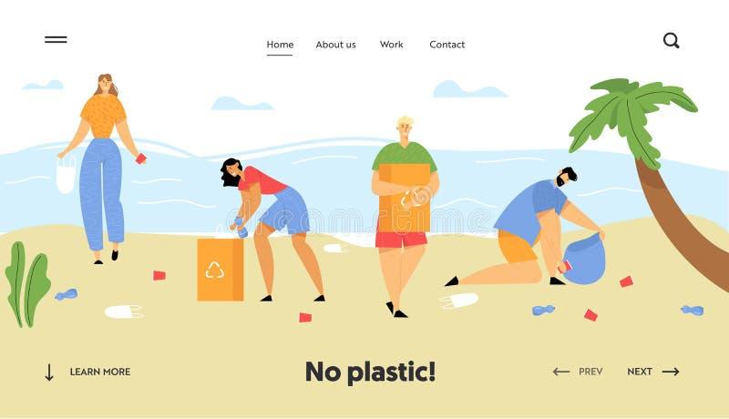 Les gens rassemblant des d?chets dans des sacs sur la plage Pollution de bord de la mer avec diff?rents genres de d?chets Protect illustration libre de droits